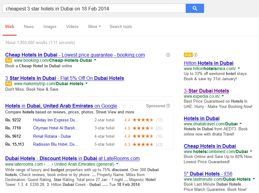 Search on Google for the cheapest 3-star hotel in Dubai gives mix results